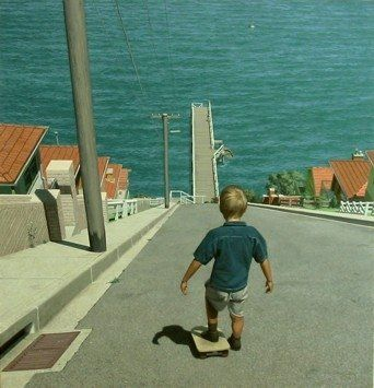 child skateboarding into water