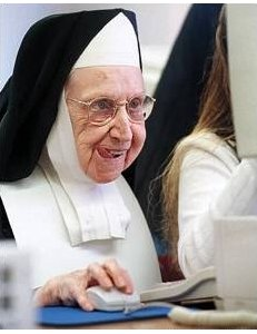 nun sticking her tongue out