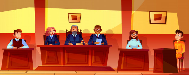 courtroom with witness giving testimony